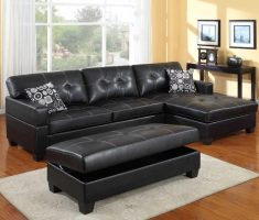black leather sofa with ottoman