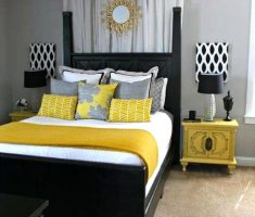 black and white bedroom decorating ideas with yellow touch theme