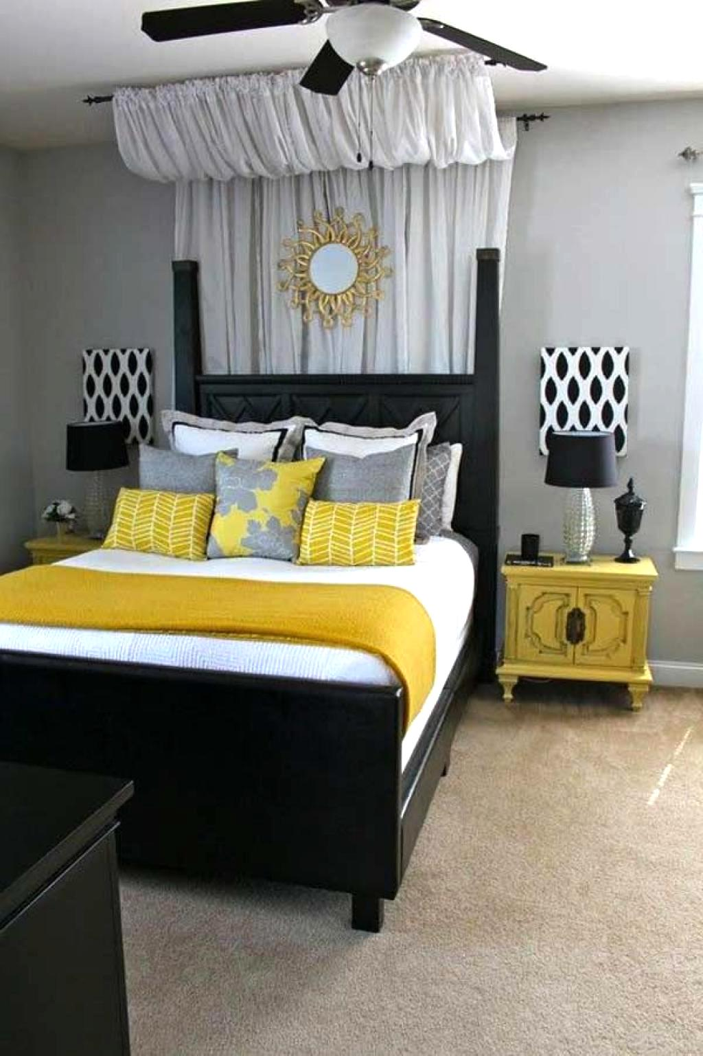 Black And White Bedroom Decorating Ideas With Yellow Touch Theme Home Inspiring