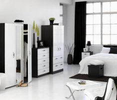 black and white bedroom theme with black and white furniture
