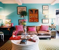 bohemian interior design ideas with blue wall paint