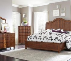 broyhill bedroom furniture with high back on white rug