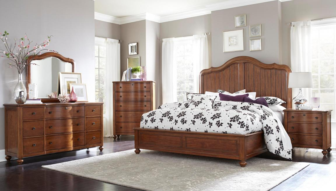 broyhill-bedroom-furniture-with-high-back-on-white-rug