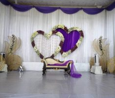 cute wedding decorations white purple heart