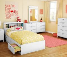 girls white bedroom furniture with warm theme colors