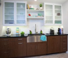 kitchen cabinet designs with glass material