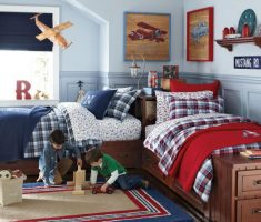 l shape shared kids bedroom for boys twin
