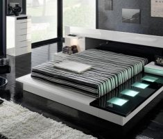 modern black and white bedroom with black darkwood with led lighting