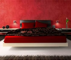 modern floating romantic bedroom red and white theme with soft rug