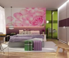 modern rooms for teenage girls with pink rose flower petals wallpaper