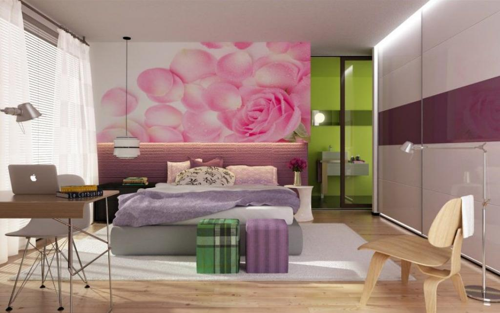modern-rooms-for-teenage-girls-with-pink-rose-flower-petals-wallpaper