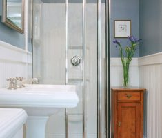 modern small bathroom remodeling ideas with glass tub and small storage