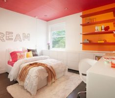orange and white modern rooms for teenage girls theme