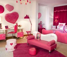 pink and white with hearth shape decor modern rooms for teenage girls