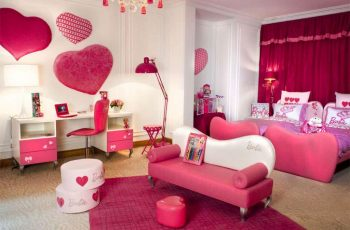 pink-and-white-with-hearth-shape-decor-modern-rooms-for-teenage-girls
