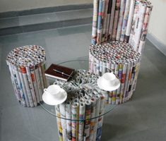 recycled furniture set for paper newspaper and magazine