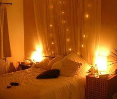 romantic bedroom with lighting for small space