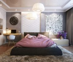 romantic bedroom with soft rug and lighting