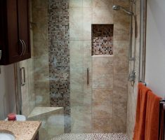 small bathroom remodelling with mosaic tile floor and wall with marble materials