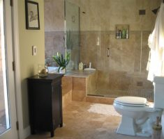 small bathroom remodelling with marble ceramic tile wall and flooring