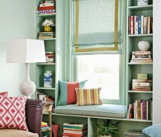 small space decoration for reading room with green theme