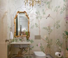 small stylish interior design apartment bathroom with flower wall pattern