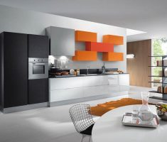 ultra modern kitchen with orange cabinet decor and appliance