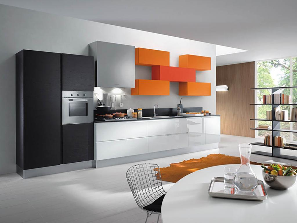 ultra-modern-kitchen-with-orange-cabinet-decor-and-appliance
