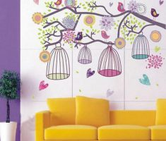 wall stickers girls bedrooms tree with cages and birds