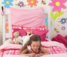 wall stickers girls bedrooms with flowers white and pink theme colors