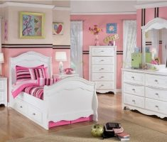 white bedroom furniture for girls with pink wall decor and drawer bed cabinet