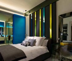 adorable-masculine-bedroom-for-men-with-color-glass-wall-decor