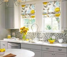 all white kitchen furniture with floral kitchen window treatment ideas