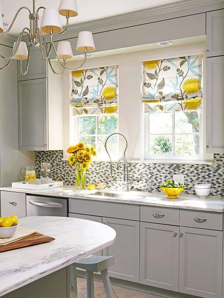 all-white-kitchen-furniture-with-floral-kitchen-window-treatment-ideas