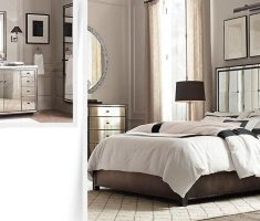 alluring mirrored headboard bedroom set