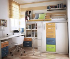 alluring small kids room with cabinet storage and home study table for small space decoration