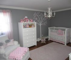 baby girl rooms grey and pink colors theme with white furniture