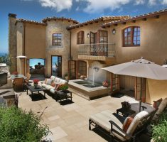 beach mediterranean style homes with courtyard