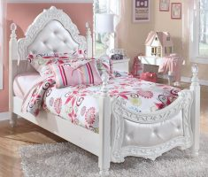 beautiful girls white bedroom furniture with white furry rugs