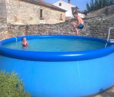 big plastic garden swimming pool