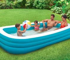 big rounded square blue inflantable plastic garden pool