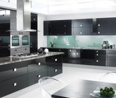 black ultra modern kitchen with gloss black cabinets