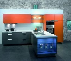 black and orang small ultra modern kitchen l shape