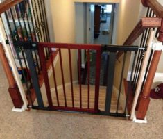 black and red baby gates for stairs with no walls metal material