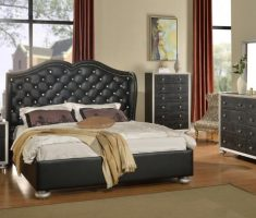 black or dark grey bedroom furniture and cushion headboard bedroom sets