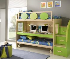 boy room ideas small spaces with green wooden furniture