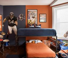 boy room ideas with bunk beds with drums and rugby characters wall decorations