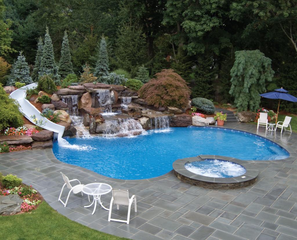 Inground pools with slide the image kid for Best swimming pools