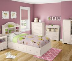 casual white bedroom furniture for girls with purple wall decor with drawer bed