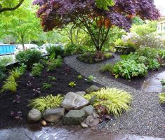 casual beauty landscaping ideas for front yard with pebbles and plantings